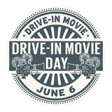 Drive-In Movie Day stamp. Drive-In Movie Day, June 6, rubber stamp, vector Illustration Royalty Free Stock Photography