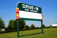 Drive-In Movie Sign. Historic drive-in movie marquee sign on Route 66 stock image