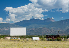Drive in movie theater in Buena Vista CO. Traditional american drive in cinema or theater in Buena Vista Colorado that still shows movies several nights a week Royalty Free Stock Image