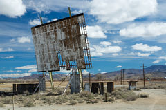 Drive-in Movie Theater. A dilapidated drive-in movie theater in rural Nevada harkens back to a lost era Stock Images