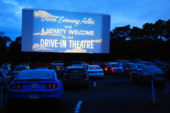 Drive in Movie Theater. An icon of a bygone era, the drive in movie theater ion Wellfleet, Cape Cod lets famlies relive the past Stock Photography