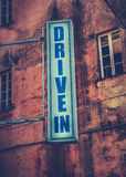 Drive-In Movie Theatre Sign. Grungy Retro Sign For A Drive-In Movie Theatre Stock Photo