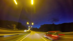 Drive through the night city, time-lapse. Drive through the night city, time lapse stock video