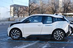 Drive Now electric car. Drive Now car parked at BMW headquarters in Munich, Germany Stock Image