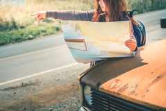 Drive old car Travel. Female travelers travel nature mountain ma Royalty Free Stock Images