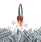 Drive And Passion. With a persistent determination for business and financial success with a rocket breaking through ladder obstacles on a white background Royalty Free Stock Photo