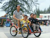 Drive a pedicab with the children