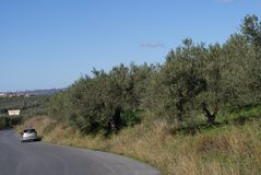 Drive on a road in Kalyves, Crete, Greece. Stock Photography