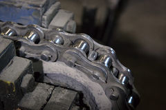 Drive roller chain and sprocket. Stock Photos