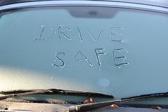Drive safe! concept for icy weather conditions Stock Photography