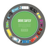 Drive safely poster in flat style Stock Image