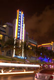 Drive scene at night lights, Miami beach, Florida. Stock Photography
