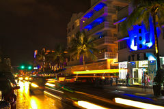Drive scene at night lights, Miami beach, Florida. Royalty Free Stock Images
