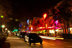 Drive scene at night lights, Miami beach, Florida. Royalty Free Stock Photo