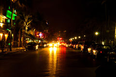 Drive scene at night lights, Miami beach, Florida. Royalty Free Stock Image