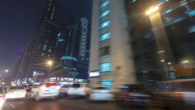 Drive on Sheikh Zayed Road in Dubai at night stock footage