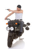 Drive by shooting on scooter Stock Photos