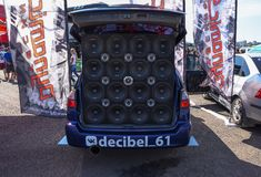 Drive Show.Competitions car audio. Visitors inspect car. Rostov-on-Don, Russia -June 09, 2019 : Drive Show.Competitions car audio. Visitors inspect car stock photos
