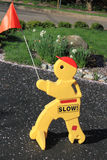 Drive Slow Sign. Yellow drive slow sign for road safety stock images