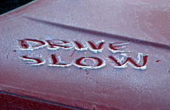 Drive slow  in winter Stock Photography