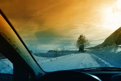 Drive on the snow Royalty Free Stock Images