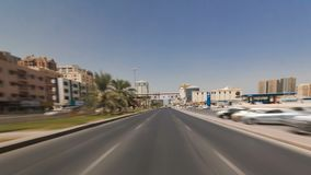 Drive on the streets of Ajman timelapse hyperlapse. Ajman is the capital of the emirate of Ajman in the United Arab Emirates. Drive on the streets of Ajman stock image