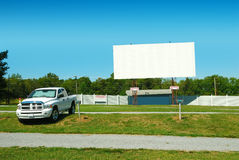 Drive In Theater. A truck parked at the  on a summer day Stock Photography