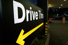 Drive Thru. BUSAN, SOUTH KOREA - CIRCA MAY, 2017: Drive Thru sign at McDonald's. A drive-thru is a type of service provided by a business that allows customers royalty free stock photos