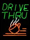 Drive-Thru Coffee. Shop neon sign royalty free stock photo