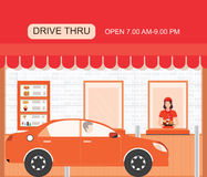 Drive thru fast food restaurant on a brick building. Stock Photo
