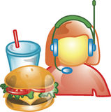 Drive thru food operator Icon Stock Image