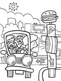 Drive Thru Nightmare - black and white Royalty Free Stock Photo