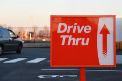 Drive thru road sign. For your restaurant Royalty Free Stock Photo