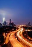 Drive to heaven. This long exposure image, taken near Kuala Lumpur, Malaysia. Amazing golden hours Royalty Free Stock Photography
