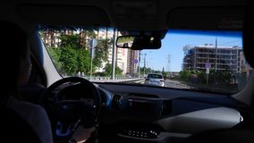 Drive a trip by car, the view from the window stock footage
