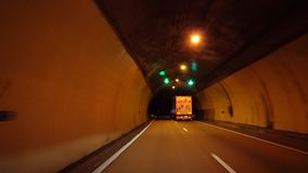 Drive with truck in dark tunnel. Driving in dark tunnel with ruck 4K stock footage