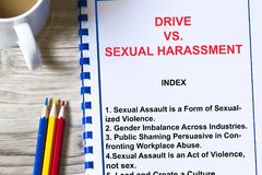 Drive vs Sexual Harassment at work concept. Provided table of content for the topic of sexual harassment Royalty Free Stock Image
