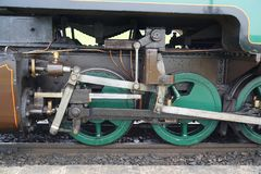 Drive wheels and rods on restored steam locomotive stock photography