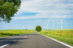 Drive through the wind farm Stock Photo