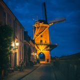 Drive Through Windmill in Wijk bij Duurstede Netherlands at Dusk Royalty Free Stock Photo