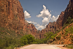 Drive into Zion Canyon. At Zion Canyon National Park royalty free stock photography