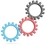 Driven gear. Image with hi-res rendered artwork that could be used for any graphic design Stock Photography