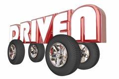 Driven Word Car Truck Transportation Wheels. 3d Illustration Stock Image