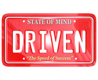 Driven Word on Red License Plate Royalty Free Stock Photo