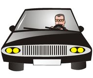 Driver. A man with glasses governed by black car Royalty Free Stock Photography