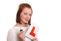 Driver abbastanza adolescente del principiante Immagine Stock Libera da Diritti