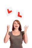 Driver abbastanza giovane che supera la sua prova Immagini Stock Libere da Diritti