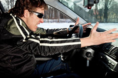 driver aggressivo Fotografia Stock Libera da Diritti