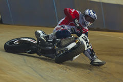 Driver Alan Birtwistle. Dirt Track Superprestigio competition at the Palau Sant Jordi. Stock Photos