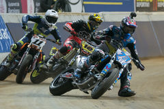 Driver Alex Marquez. Dirt Track Superprestigio competition at the Palau Sant Jordi. Stock Photos